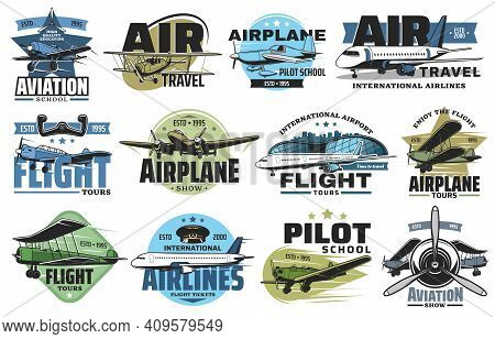 Aviation Show And Airline Flight Tours Icons Set. Airplane Pilot School, Airport Flights And Air Tra