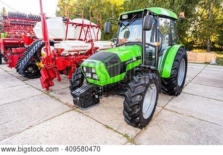 Samara, Russia - September 23, 2017: Modern Agricultural Wheeled Tractor Deutz-fahr 6175g Exhibited
