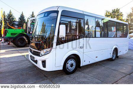 Samara, Russia - September 23, 2017: Compact Urban Bus Paz Vector Next At The Annual Volga Agro-indu