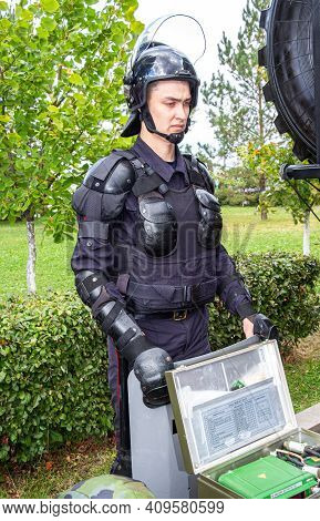 Samara, Russia - September 10, 2017: Special Forces Soldier Of Rosgvardia In Uniform With Shield And