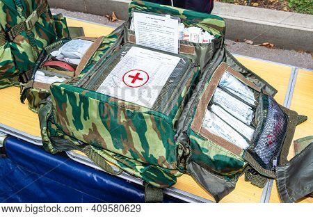 Samara, Russia - September 10, 2017: Modern Russian Military First Aid Kit, Paramedic Equipment, Med