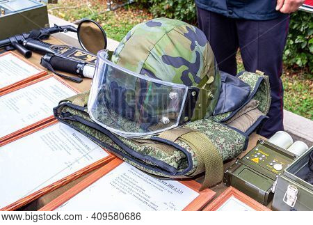 Samara, Russia - September 10, 2017: Helmet Of The Russian Special Forces With Protective Glass