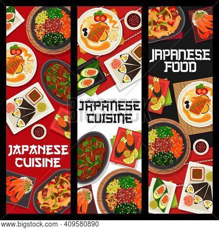 Japanese Cuisine Vector Shrimps, Prawn Avocado Temaki And Gunkun Sushi With Caviar. Vegetable Beef S