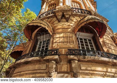 Old house in the center of Palma de Mallorca. Mallorca island, Spain Mediterranean Sea, Balearic Islands.