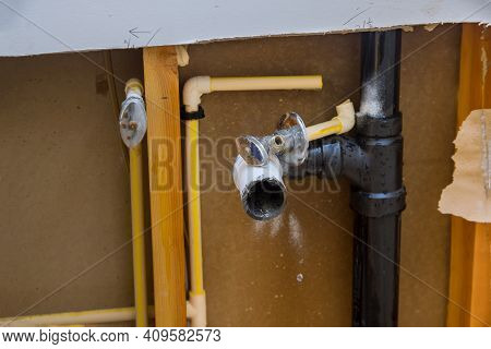 Repair Plumbing Line With Damaged Leaking Water Hose Pipe In A Bathroom