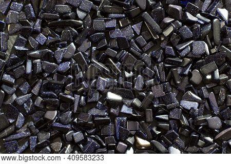 Semi-precious Gemstone Night Cairo Dark Blue Natural Aventurine Stone On A Light Gray Background Clo