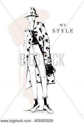 Fashion Girl In Coat. Stylish Woman In Coat With Leopard Print. Fashion Woman Look. Fashion Illustra