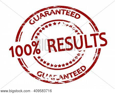 Rubber Stamp With Text One Hundred Percent Results Inside, Vector Illustration