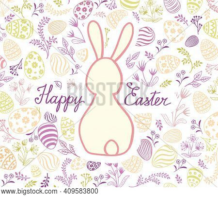 Happy Easter Greeting Card. Spring Holiday Background With Rabbit Bunny And Handwritten Lettering Ha