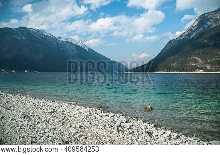 Alpine Lake Achensee With Green Turquoise Clear Water And Alps Mountains Landscape In Pertisau, Tiro