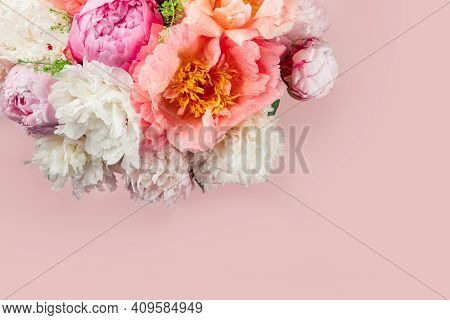Abundance Of Fresh Bunch Of Peonies Bouquet Of Different Pink Colors On Light Background. Card Conce