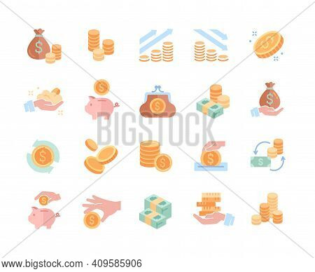 Collection Of Coins, Money, Earnings Related Icons. Coins Stack And Donations, Tips, Piggy Bank, Bun