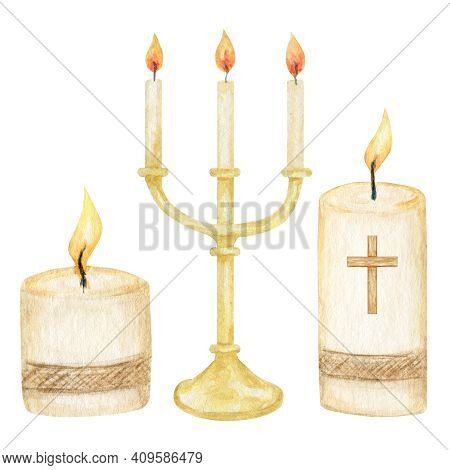Religious Candle Flame Fire Light, Candle With Cross, Isolated On White Background. Religious Catoli