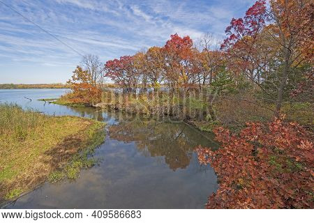 Autumn Colors On The Illinois River In Starved Rock State Park In Illinois