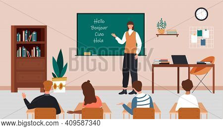 Female Character Is Teaching Language At School. Students At School, Classroom And Teacher At Chalkb
