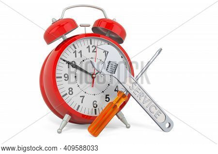 Service And Repair Of Clocks, 3d Rendering Isolated On White Background