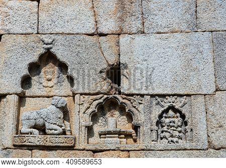 Chitradurga, Karnataka, India - November 10, 2013: Fort Or Elusuttina Kote. Shiva Themed, Nandi And