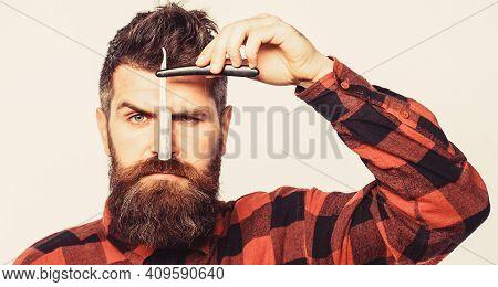 Straight Razor, Barbershop, Beard. Vintage Straight Razor. Barbershop Service