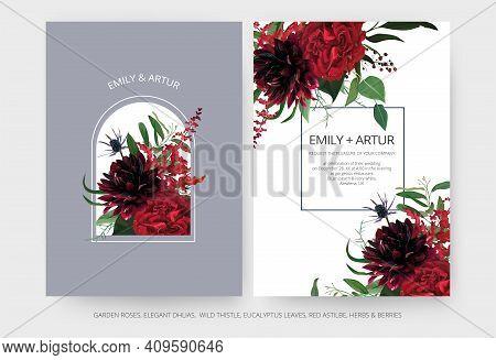 Vector Wedding Invite Cards Set. Burgundy Dahlia Flowers, Elegant Red Color Garden Rose, Greenery Eu