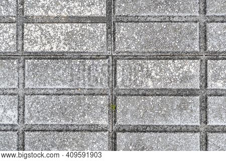 Geometric Pattern Of Road Tiles Close Up. Asbract Background. Texture. Copy Space