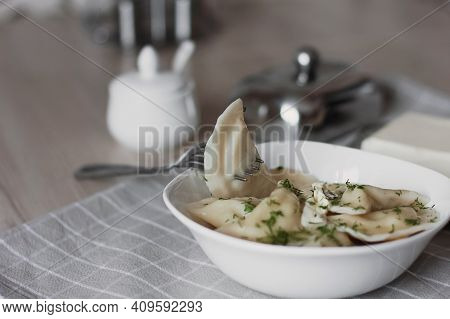 Dumplings, Filled With Potatoes And Served With Butter And Fennel. Varenyky, Vareniki, Pierogi, Pyro
