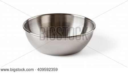 Front View Of Chinese Style Metal Sauce Bowl Isolated On White Background. Empty Dishes For Food Des