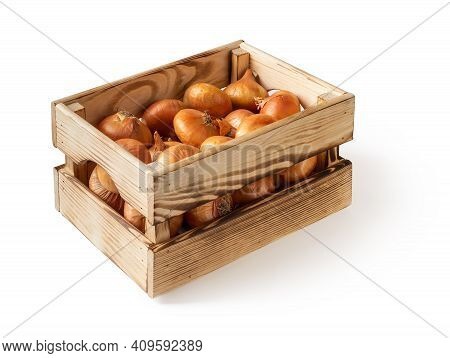 Side View Of Wooden Crate With Raw Yellow Onions Isolated On White Background. Fresh Onion In A Wood