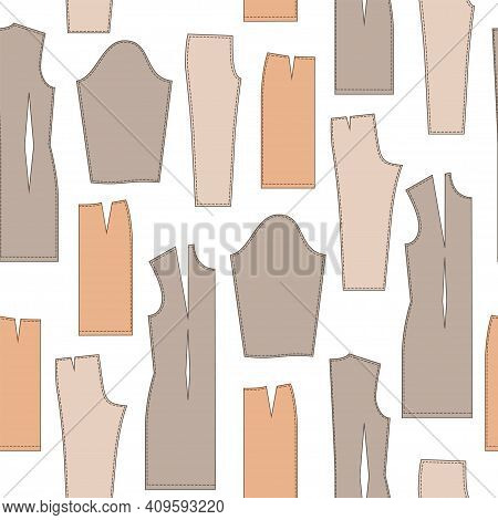 Tailor Seamless Pattern With Templates Of Dress, Skirts And Trousers. Fashion.