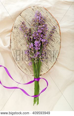 Bouquet Of Lavender Tied With Ribbon. Flatlay French Provence Style Flower Blossom. Fresh Lavender F