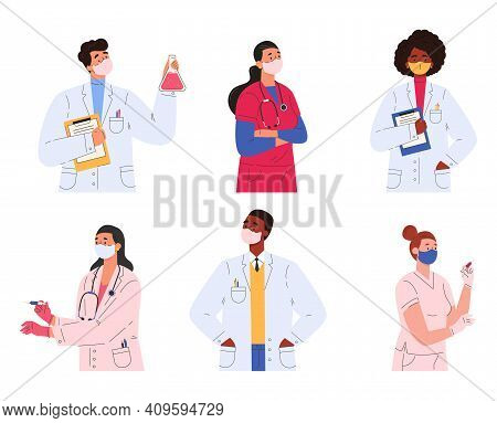 Different Doctors, Nurses And Scientists. Set Of People In Medical Clothes. Women And Men In Masks H