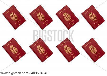 Serbian Passports On White Background Close Up