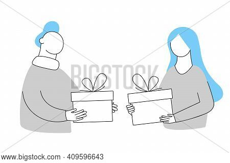 Give Each Other Gifts. A Woman Gives A Man A Gift. The Guy Gives The Girl A Present. Holiday Surpris