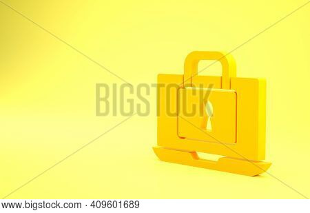 Yellow Laptop And Lock Icon Isolated On Yellow Background. Computer And Padlock. Security, Safety, P