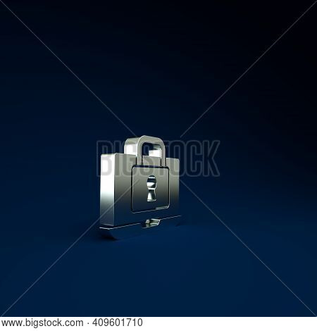 Silver Laptop And Lock Icon Isolated On Blue Background. Computer And Padlock. Security, Safety, Pro