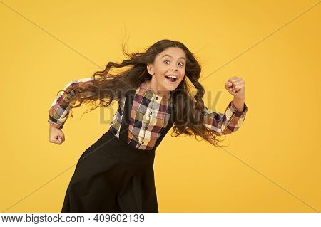 Tips For Healthy Hair. Towards The Wind. Girl Kid Long Hair Flying In Air. Growing Hair. Child With