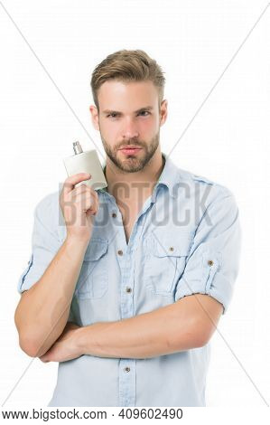 Man Confident Face Hold Perfume Bottle. He Likes This Fragrance. Male Fragrance Concept. Man Handsom
