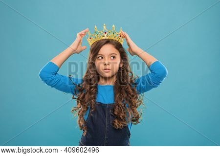 Thoughtful Baby. Kid Wear Golden Crown Symbol Of Princess. Become Princess. Lady Little Princess. Gi