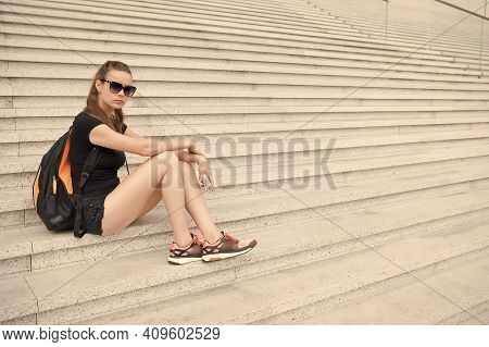 Urban Space. Tourist Guide Sightseeing. Vacation Ideas. Vacation In Big City. Woman Relaxing. Museum