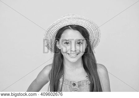 Stunning Girl In Elegant Hat. Cheerful Face. Emotional Child. Summer Holidays. Fashionably Dressed.