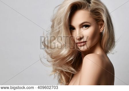 Healthy Skin Beautiful Woman Beauty Skin And Hair Portrait Natural Make Up. Blonde Woman Face Clean
