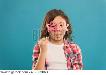 Feeling Playful. Showing Tonue In Glasses. Small Girl Prefect Casual Fashion. Happy Kid In Funny Par