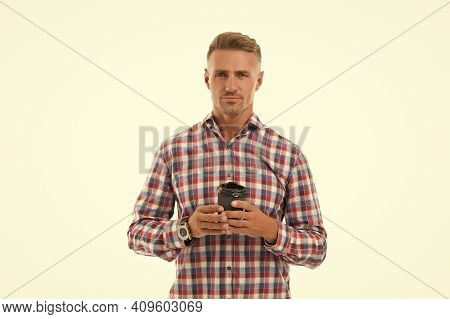 I Need Caffeine. Handsome Man Hold Takeaway Cup Isolated On White. Coffee Caffeine. Caffeine Drink.