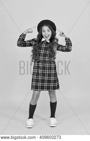 Look At That. Retro Girl Wear Uniform And Parisian Beret. Kid School Fashion. Happy Child Ready For