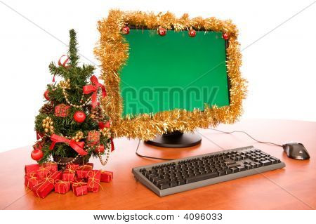 Office Desk With Beautiful Christmas Decoration