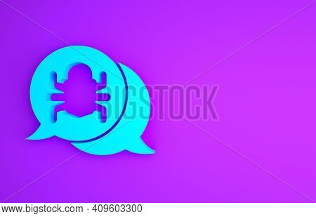 Blue System Bug Concept Icon Isolated On Purple Background. Code Bug Concept. Bug In The System. Bug