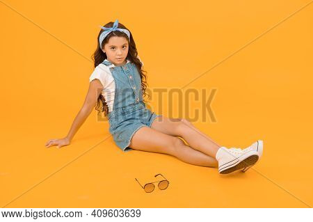 Little Fashionista. Carefree Happy Childhood. Modern Clothing For Teen. Cute Small Kid Fashion Girl.