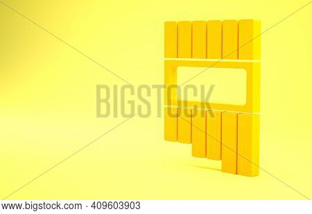 Yellow Pan Flute Icon Isolated On Yellow Background. Traditional Peruvian Musical Instrument. Zampon