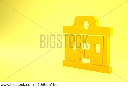 Yellow Wild West Saloon Icon Isolated On Yellow Background. Old West Building. Minimalism Concept. 3