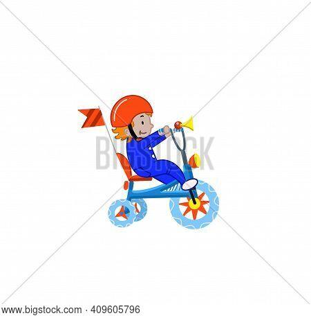 Happy Little Children Riding Bicycle. Children Ride Bicycles, Child On A Bike, Child On A Bike Illus