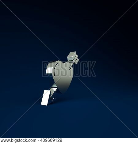 Silver Amour Symbol With Heart And Arrow Icon Isolated On Blue Background. Love Sign. Valentines Sym